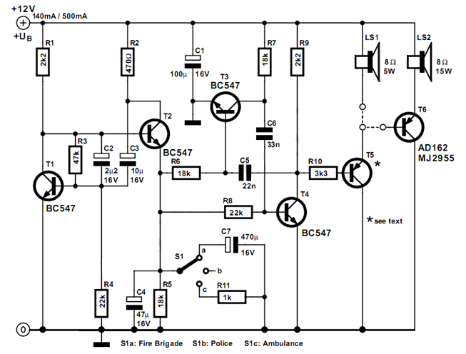 simple us style siren circuit circuit diagram rh circuitsdiagramlab blogspot com Fire Siren On Phone Poles Fire Siren On Phone Poles