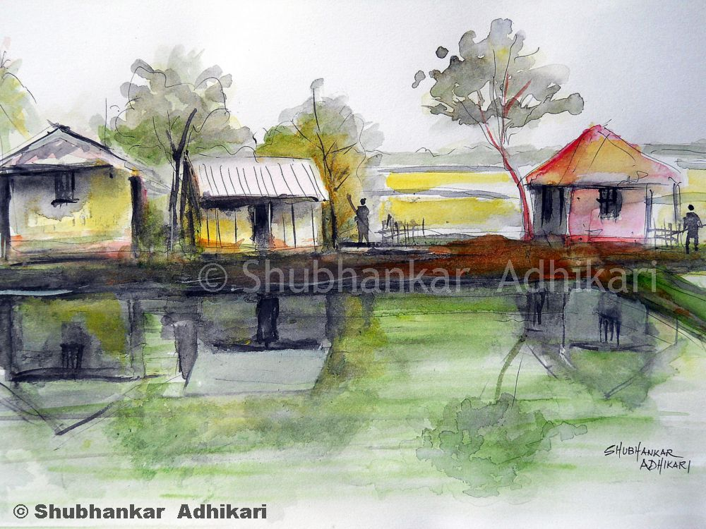 Artworks by Shubhankar Adhikari: Rural India - A village ...