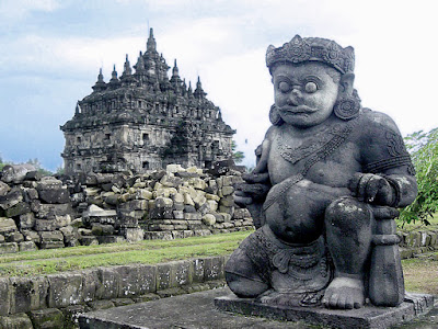 One of a pair of Dvarapalas or door-guardians guarding the Sewu Temple, Java