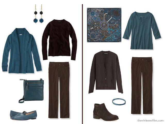 How to wear teal with dark chocolate brown