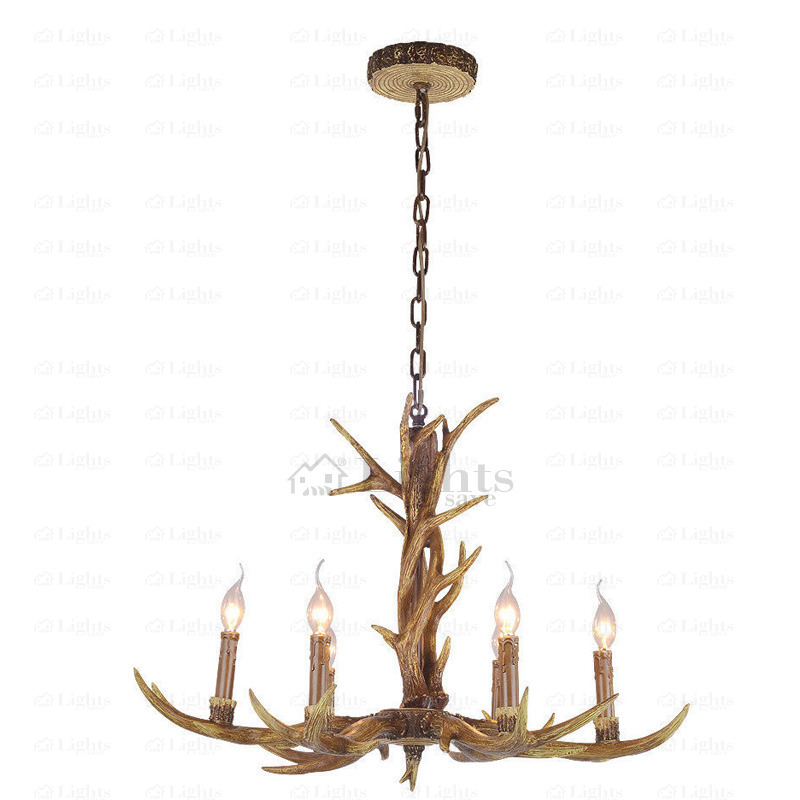 6-Light Resin Material Antler Vintage Style Chandeliers