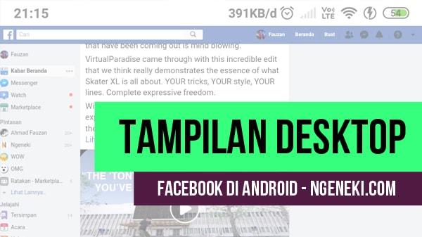 Cara Membuka Facebook di HP dengan Tampilan Seperti pada Komputer
