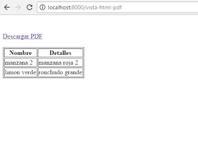 Crear PDF de una vista HTML utilizando Laravel