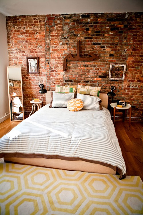 modern furniture bedrooms with brick walls 2013 ideas