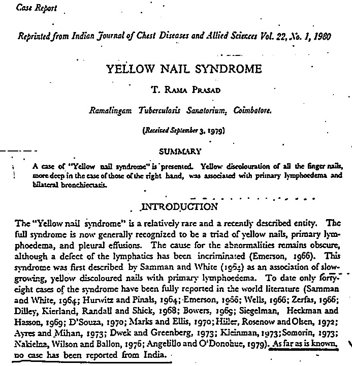 Dr. T. Rama Prasad\'s Scribblings...: YELLOW NAIL SYNDROME