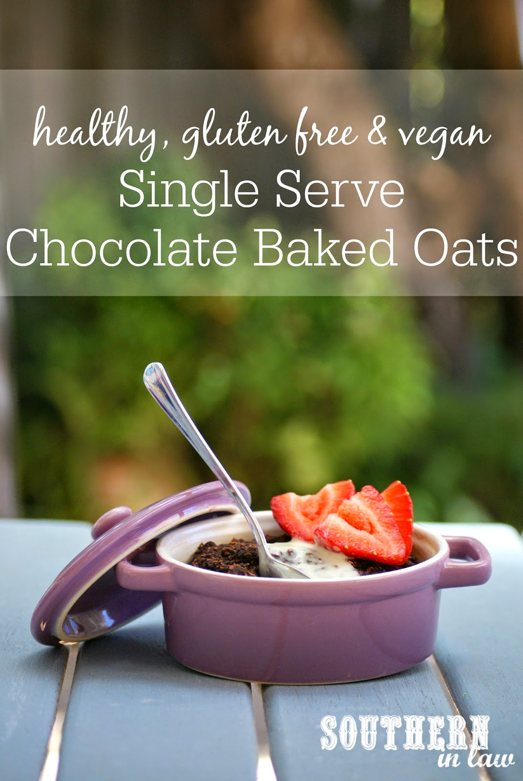 Healthy Chocolate Baked Oatmeal for One Recipe - low fat, gluten free, sugar free, vegan, healthy