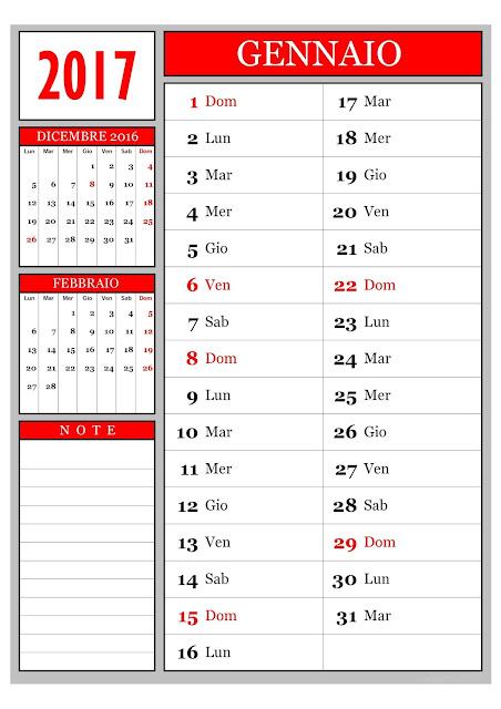 Calendario mensile - Gennaio 2017
