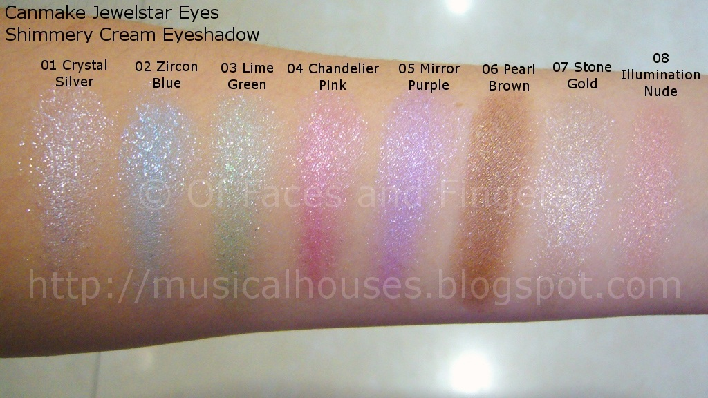 Canmake Jewelstar Eyes Shimmery Cream Eyeshadow Swatches