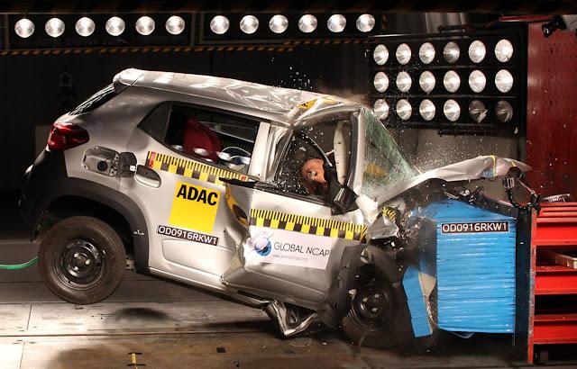 Renault Kwid - teste de impacto - crash test - segurança