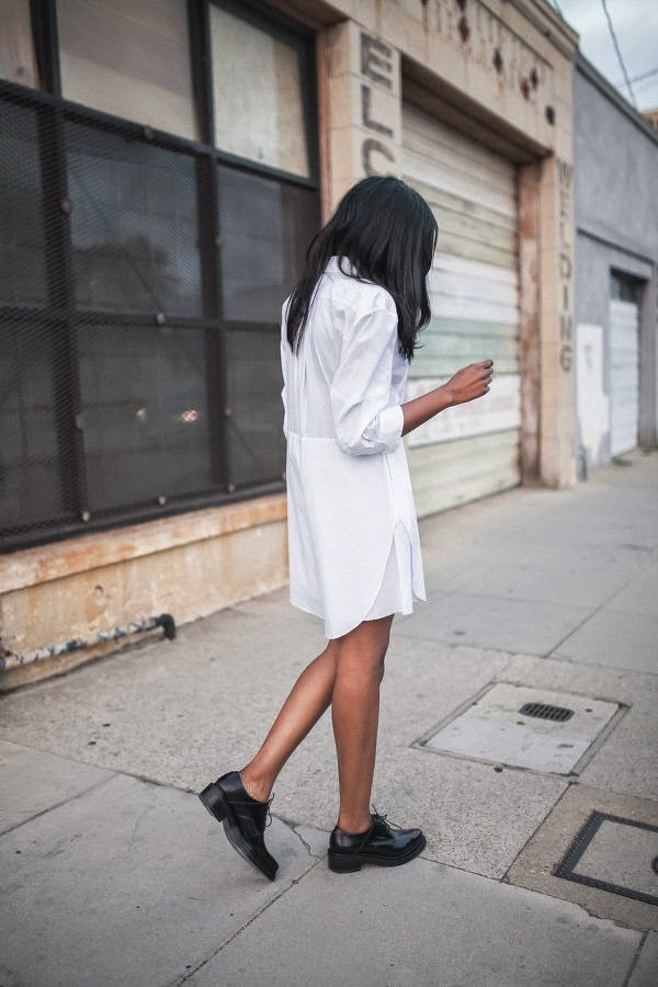 shirt dress loafers monochrome style