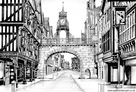 Hand Drawn Cityscape Ink drawing of Foregate St, Chester, Cheshire, England. Art by Spencer Derry