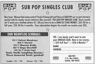 Sub Pop Single Club art sound rock grunge nirvana art sound