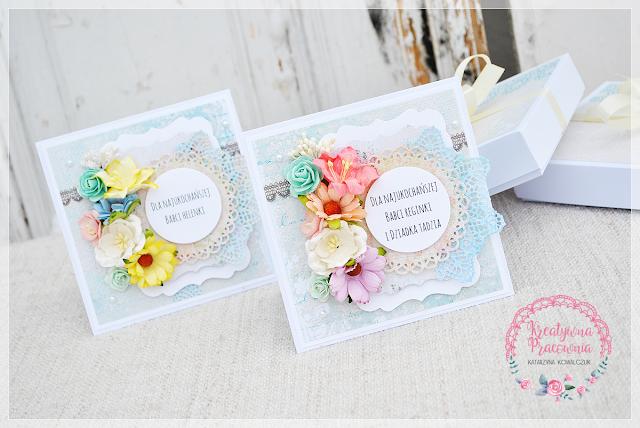 kwiatowa kartka dla dziadków, scrapbooking, handmade