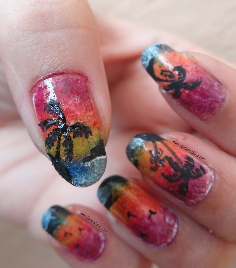 Tutorial Summer Sunset On The Beach Nail Art Deck And Dine