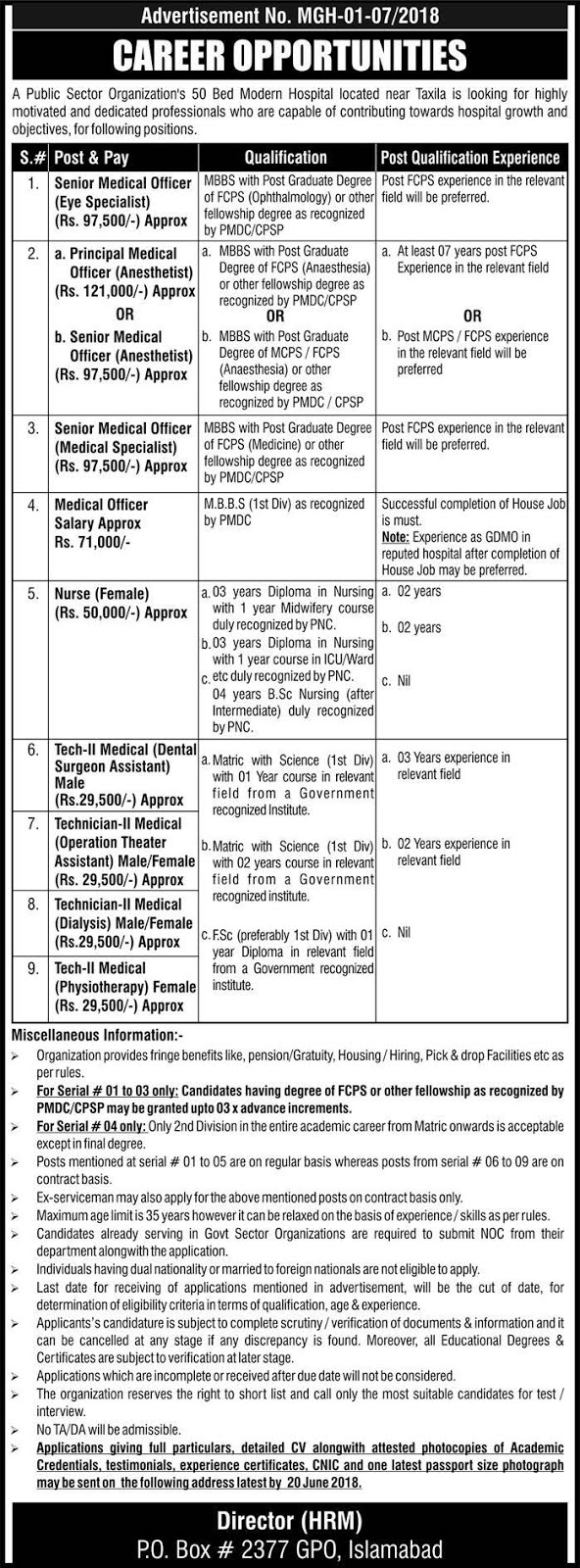 Latest Jobs in Islamabad, Jobs in Taxila, Jobs for Doctors in Rawalpindi,