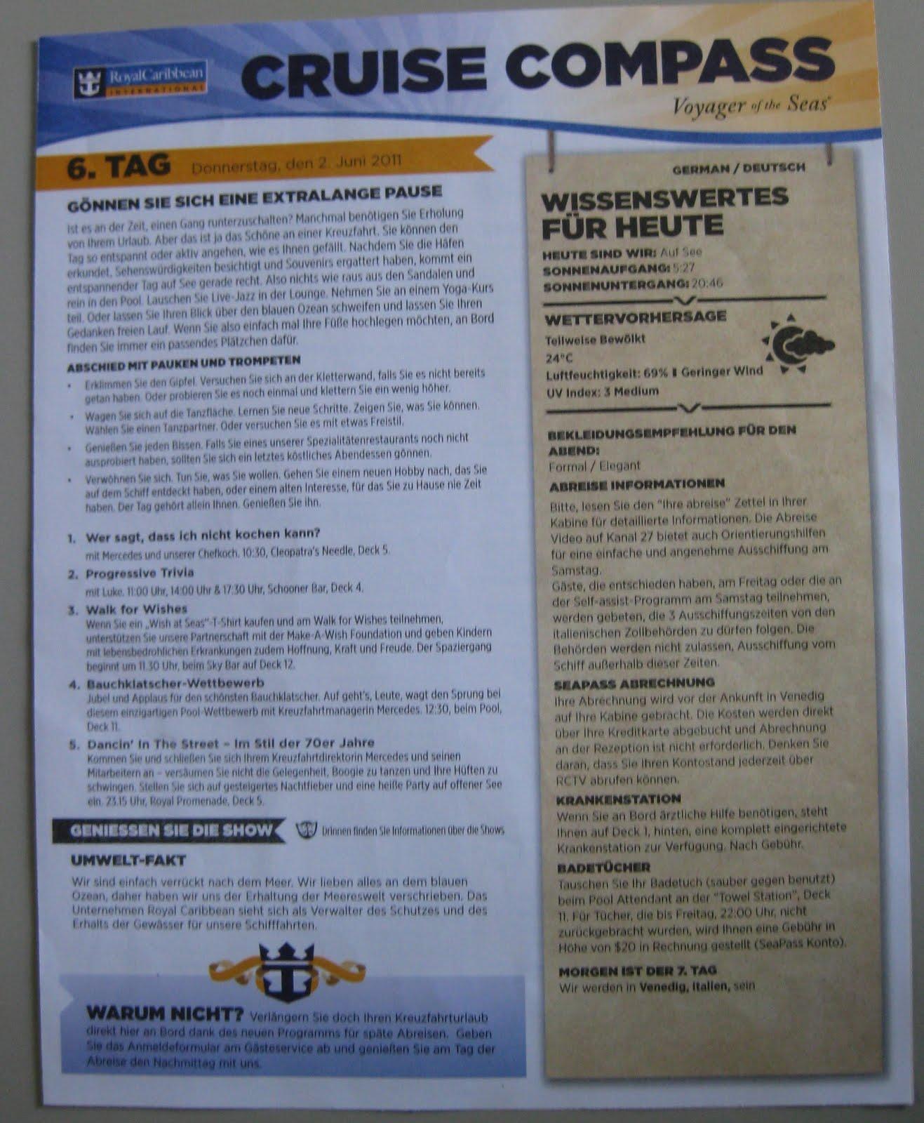 Cruise Compass Vorderseite der Bordzeitung auf der Voyager of the Seas