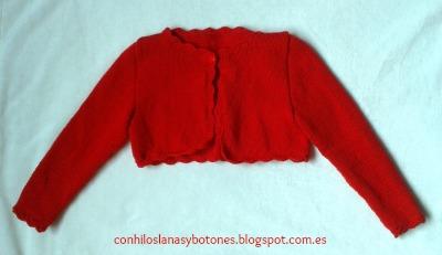 conhiloslanasybotones - chaqueta o bolero de niña de punto