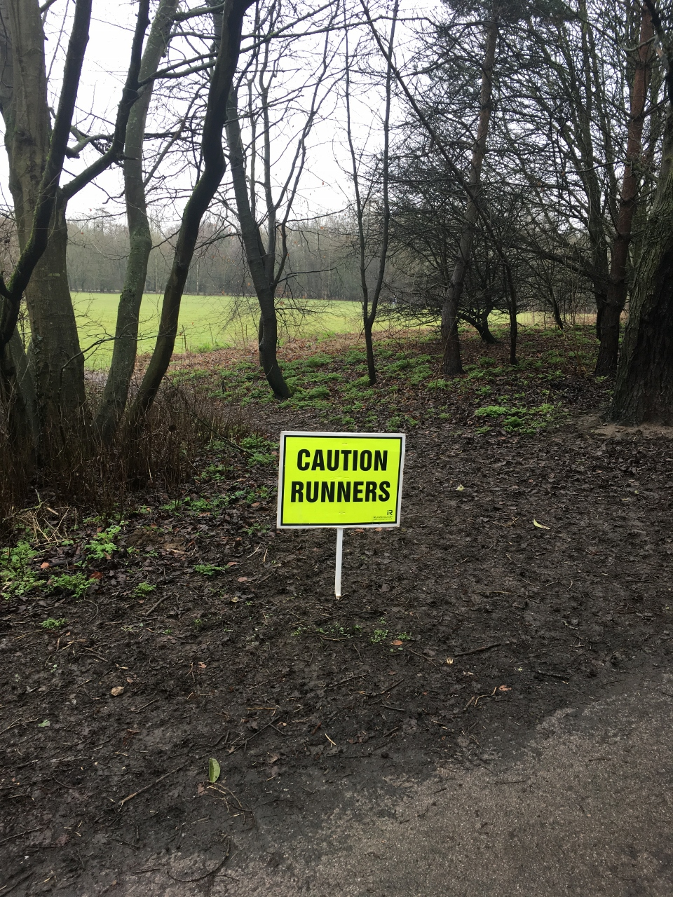 Caution runners parkrun sign