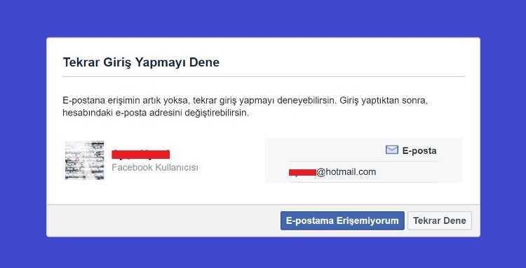 E-postama erişemiyorum seçeneği Facebook'un size farklı bir yol sunmasını sağlayacaktır.