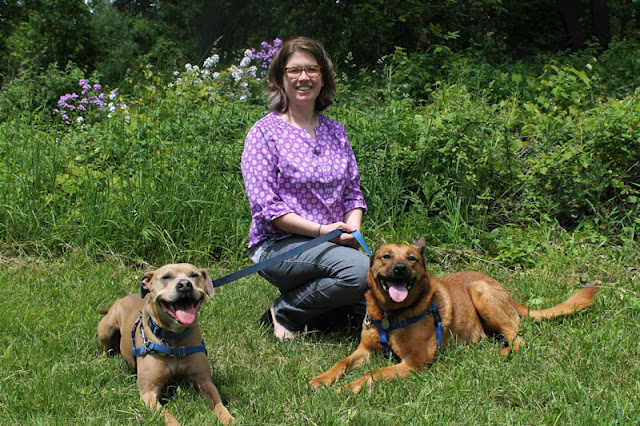 Dr. Christy Hoffman with her two dogs
