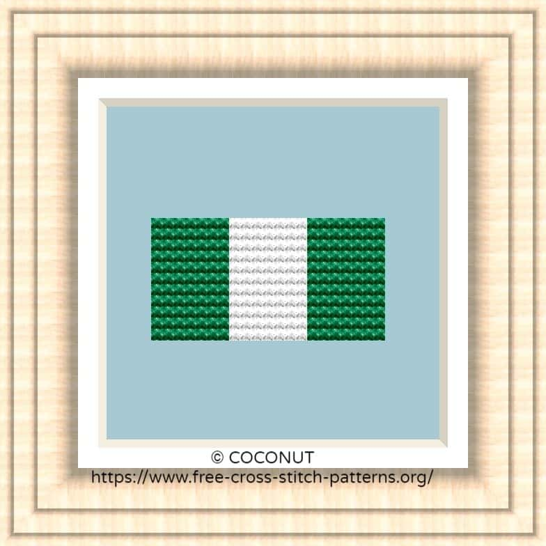 NATIONAL FLAG OF NIGERIA CROSS STITCH CHART