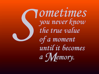 """Sometimes you don't appreciate the value of a moment until it becomes a memory."""