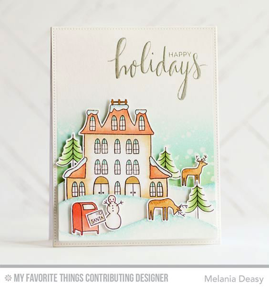 Handmade card from Melania Deasy featuring the Hand Lettered Holiday stamp set, Winter Wonderland stamp set and Die-namics, andSnow Drifts Die-namics #mftstamps