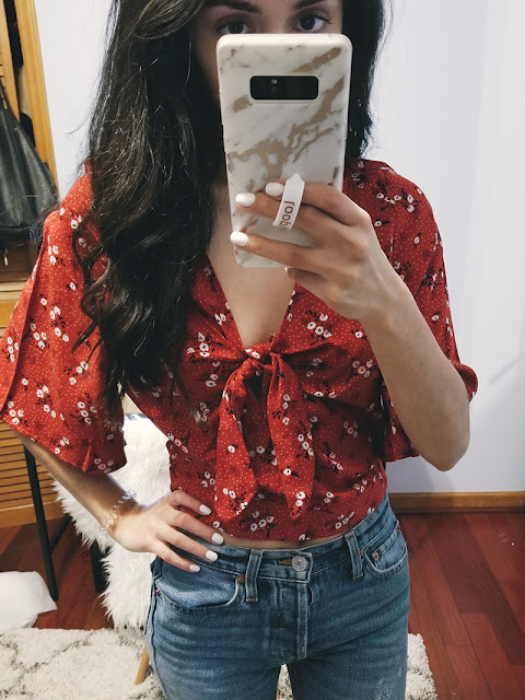 rue 21 try on floral red tie front top