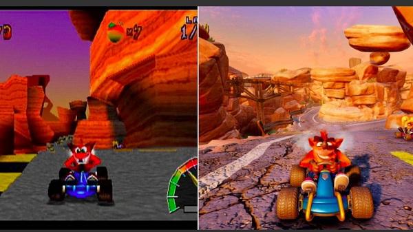 شاهد مقارنة تكشف لنا التطور الكبير بين النسخة الأصلية للعبة Crash Team Racing و الريميك
