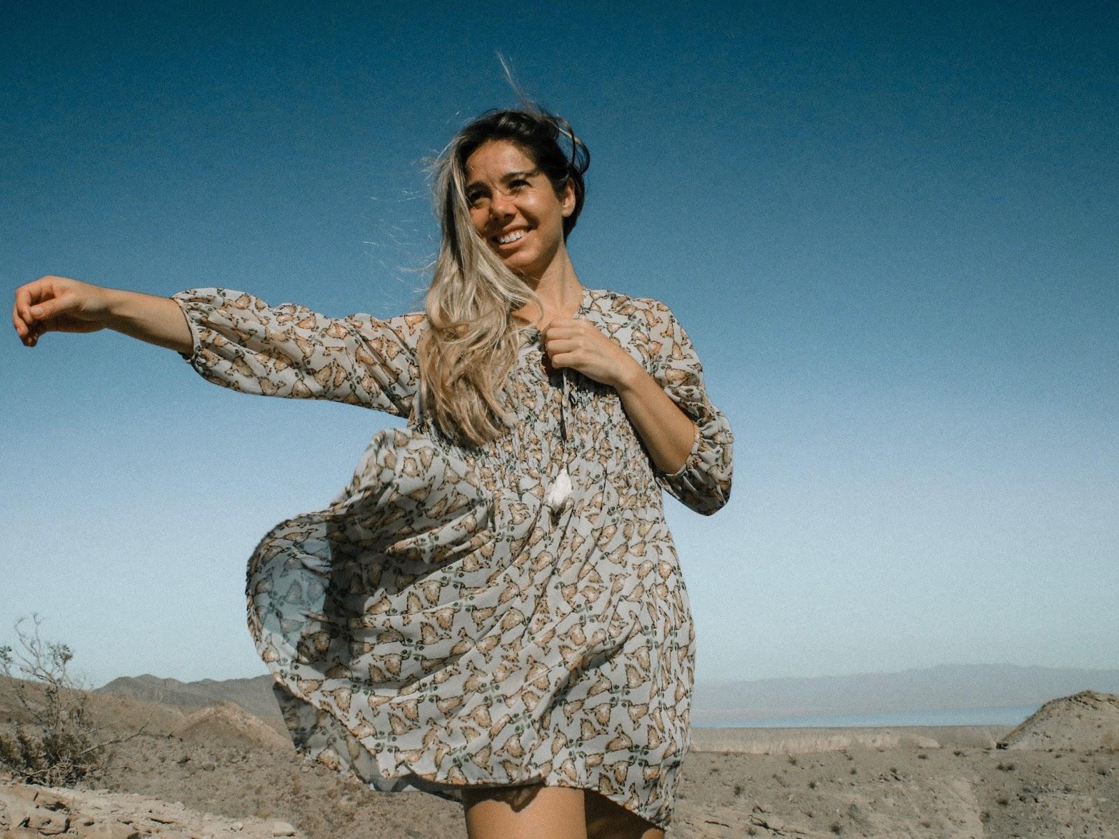 Girl windy desert dress free spirit