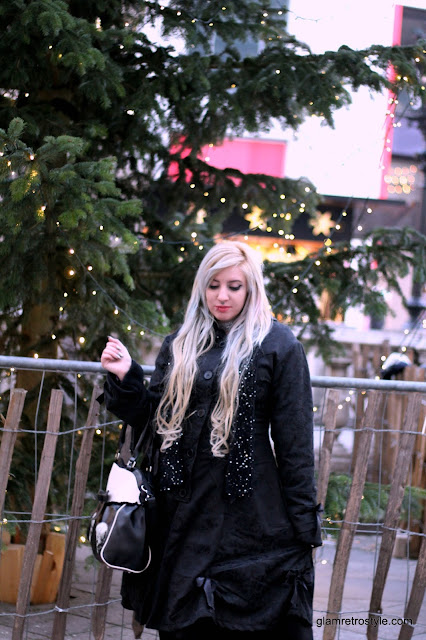 blonde goth girl long hair banned bag poizen industries alice gothic coat