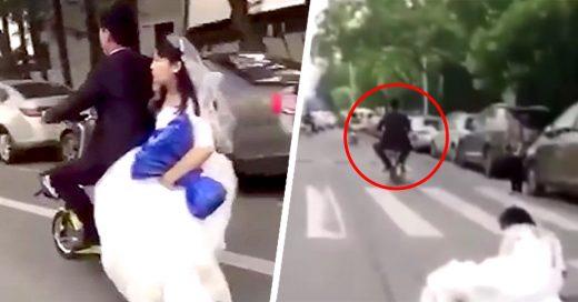 Su esposa cae de la moto y él sigue su camino sin darse cuenta