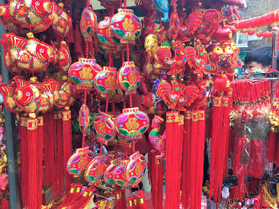 Pic of bright red and yellow Chinese New Year decorations