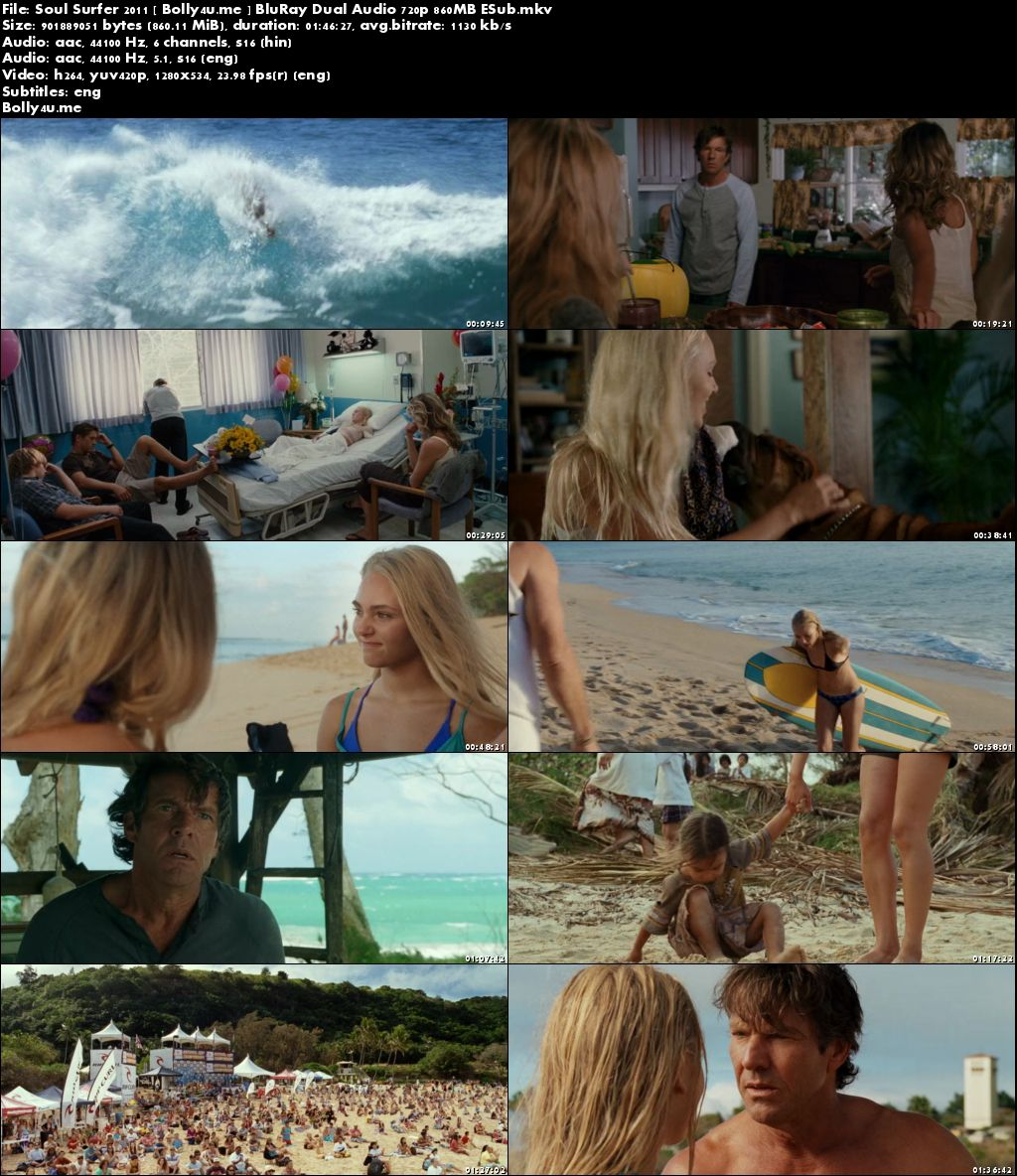 Soul Surfer 2011 BluRay 350MB Hindi Dual Audio 480p ESub