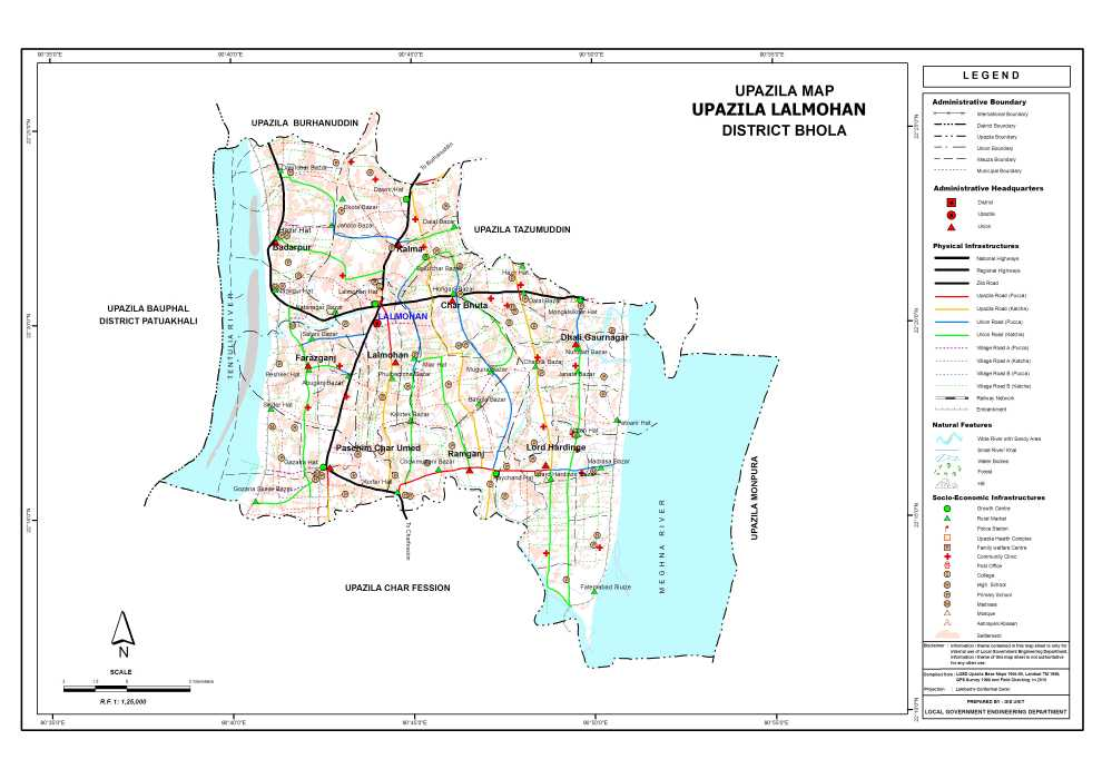 Lalmohan Upazila Map Bhola District Bangladesh