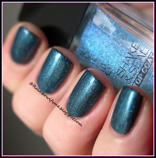 CND Vinylux ~ Fern Flannel topped with Catrice: Ocean Drive