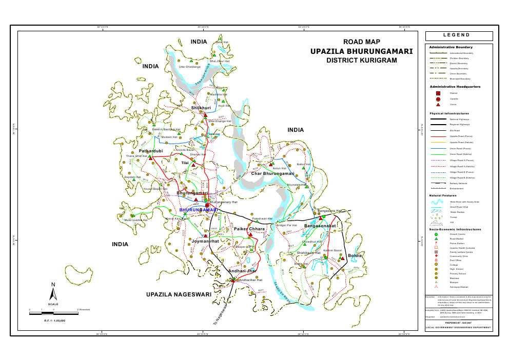 Bhurungamari Upazila Road Map Kurigram District Bangladesh