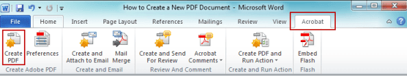 create PDF document from Word with Acrobat menu