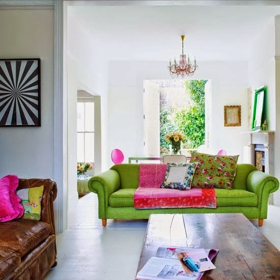 Salas con sof verde salas con estilo - Colores para sofas ...