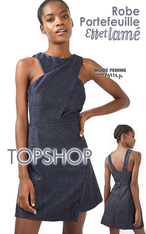 Robe portefeuille bleue de soirée lamée TOPSHOP