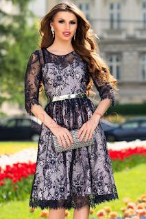 Rochie eleganta scurta de ocazie bleumarin din dantela
