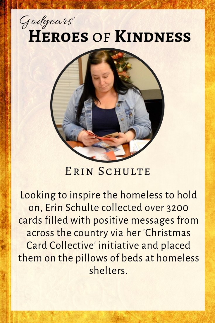 Via her Christmas Card Collective, Erin Schulte collects cards filled with positive messages from across the world for the homeless.