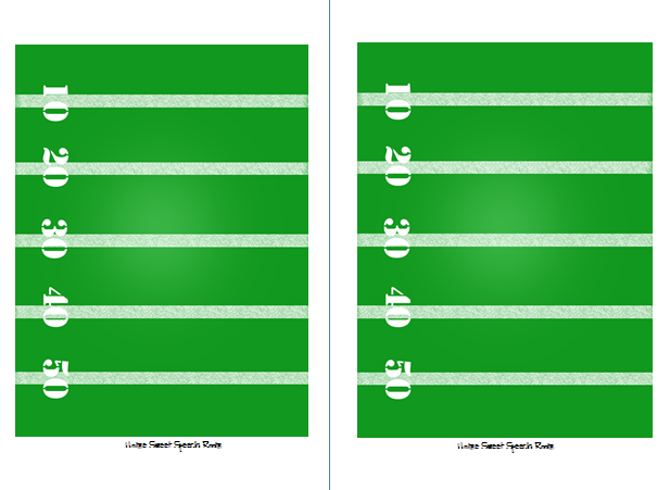 Blank Football Field Template Includes 20 football cards,