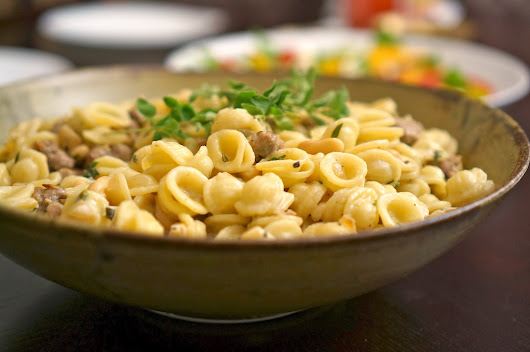 Orechiette with Sausage, Cannellini Beans, and Marscapone