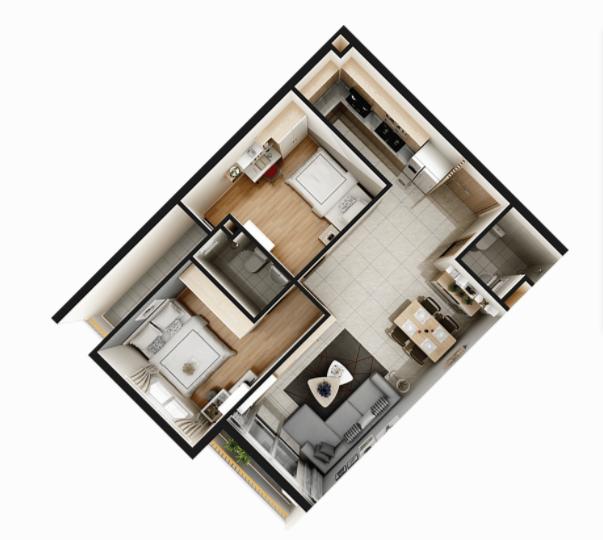 Thiết kế căn 2PN Căn hộ Sunshine Avenue quận 8