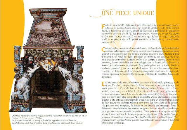 mécénat populaire pour l'acquisition d'une cheminée héraldique en faïence de Saint-Clément (1878)
