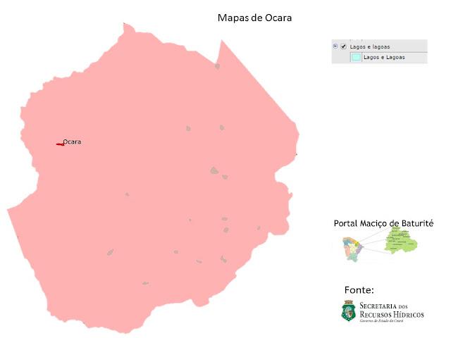 mapas de Ocara - Lagos e Lagoas