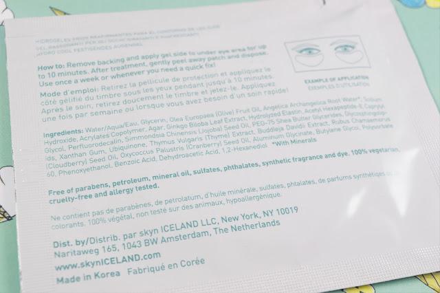Skyn Iceland Hydro Cool Firming Eye Gels ingredients