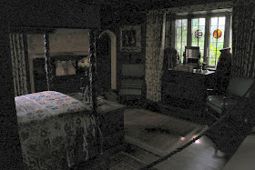 A rather dark picture of the State Bedroom, Athelhampton House, Dorset