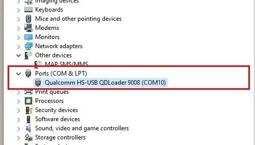 Qualcomm HS-USB QDLoader 9008 COMz